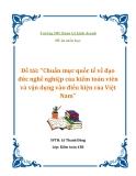 """Đề tài: """"Chuẩn mực quốc tế về đạo đức nghề nghiệp của kiểm toán viên và vận dụng vào điều kiện của Việt Nam"""""""