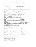 Đề kiểm tra 1 tiết Tin học 7 - Chương trình bảng tính