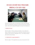 10 sai lầm dễ mắc phải khi phỏng vấn xin việc