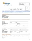 Mẫu đơn thông tin ứng viên ngân hàng DongA Bank