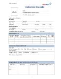 Mẫu đơn thông tin ứng viên ngân hàng VietinBank