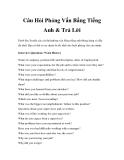 Câu Hỏi Phỏng Vấn Bằng Tiếng Anh & Trả Lời