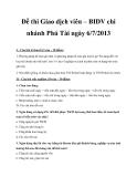 Đề thi Giao dịch viên – BIDV chi nhánh Phú Tài ngày 6/7/2013