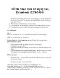 Đề thi nhân viên tín dụng vào Eximbank (22/8/2010)
