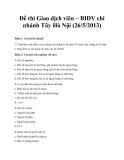 Đề thi Giao dịch viên – BIDV chi nhánh Tây Hà Nội (26/5/2013)