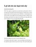 Lợi ích từ các loại trái cây
