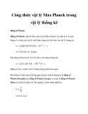 Công thức vật lý Max Planck trong vật lý thống kê