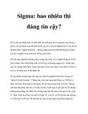 Sigma: bao nhiêu thì đáng tin cậy?