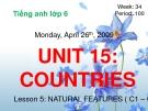 Bài giảng Tiếng Anh 6 unit 15: Countries
