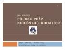 Bài giảng phương pháp nghiên cứu khoa học - Phạm Thị Anh Lê _ Trần Đăng Hưng - ĐH Sư phạm Hà Nội
