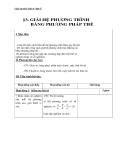 Giáo án Đại số 9 chương 3 bài 3: Giải hệ phương trình bằng phương pháp thế