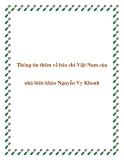 Thông tin thêm về báo chí Việt Nam của nhà biên khảo Nguyễn Vy Khanh
