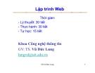 Bài giảng lập trình Web - Ts.Vũ Đức Lung - Chương 1