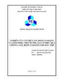Tiểu luận: Nghiên cứu cơ chế lắng đọng parafin và giới thiệu một số phụ gia có hiệu quả chống lắng đọng parafin cho dầu thô