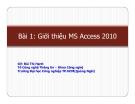 Giới thiệu MS Access 2010