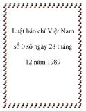 Luật 0 số báo chí Việt Nam 1989