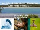 Nguyên lý kinh tế sử dụng nước ( Economics of Water Use) - Trịnh Quang Thoại