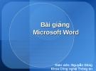 Bài giảng Microsoft Word - Gv: Nguyễn Dũng