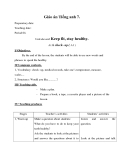 Giáo án unit 11: Keep fit, stay healthy - Tiếng Anh 7 - GV.Ng.T.Ngân
