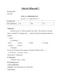 Giáo án unit 14: Freetime fun – Tiếng Anh 7 - GV.Văn Mạnh Cường