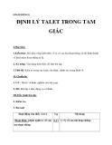 Giáo án bài: Định lí Talet trong tam giác - Hình học 8 - GV.Đào Tuyết Oanh