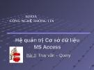 Hệ quản trị cơ sở dữ liệu MS Access - Bài 3