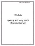 Tiểu luận: Quản lý Nhà hàng Beach Beach restaurant