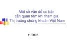 Một số vấn đề cơ bản cần quan tâm khi tham gia Thị trường chứng khoán Việt Nam