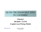 Quản trị danh mục đầu tư:Cổ phiếu-Chương 1:Mô hình C.A.P.M