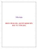 Tiểu luận: Phân tích STB - Quyết định nên đầu tư năm 2012