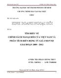 Tiểu luận: Tìm hiểu về chính sách ngoại hối của Việt Nam và phân tích biến động tỷ giá USD / VND giai đoạn 2009 - 2012