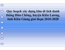 Tiểu luận:Quy hoạch xây dựng khu di tích danh thắng Hòn Chông, huyện Kiên Lương, tỉnh Kiên Giang giai đoạn 2010 2010-2020