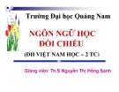 Bài giảng Ngôn ngữ học đối chiếu - ThS Nguyễn Thị Hồng Sanh