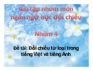 Bài tập nhóm môn Ngôn ngữ học đối chiếu: Đối chiếu từ loại trong tiếng Việt và tiếng Anh