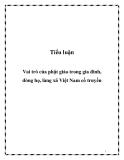 Tiểu luận: Vai trò của phật giáo trong gia đình, dòng họ, làng xã Việt Nam cổ truyền