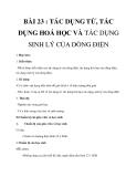 Giáo án Tác dụng từ, tác dụng hóa học và tác dụng sinh lí của dòng điện - Lý 7 bài 23 -  GV.P.Dương