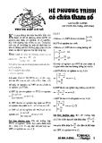 Hệ phương trình có chứa tham số - Cao Quốc Cường