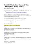 Ôn thi trung phổ thông môn toán: Chuyên đề Tìm tiếp tuyến và cực trị ( Phần 1)