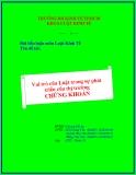 Tiểu luận: Vai trò của Luật trong sự phát triển của thị trường chứng khoán