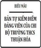 Mẫu bản tự kiểm điểm đảng viên của chi bộ Trường THCS Thuận Hóa