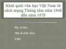 Thuyết trình: Khái quát văn học Việt Nam từ cách mạng tháng tám năm 1945 đến năm 1975