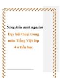 Sáng kiến kinh nghiệm: Dạy hội thoại trong môn Tiếng Việt lớp 4 ở tiểu học