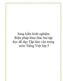 Sáng kiến kinh nghiệm:  Biện pháp khai thác bài tập đọc để dạy Tập làm văn trong môn Tiếng Việt lớp 5