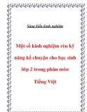 Sáng kiến kinh nghiệm: Một số kinh nghiệm rèn kỹ năng kể chuyện cho học sinh lớp 2 trong phân môn Tiếng Việt