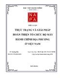 Tiểu luận: Thực trạng và giải pháp hoàn thiện tổ chức bộ máy hành chính địa phương ở Việt Nam