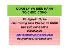 Quản lý và điều hành tổ chức công - TS. Nguyễn Thị Hà