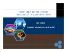Bài giảng Quản lý ngân sách nhà nước - PGS Trần Văn Giao