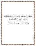 6 yêu cầu quan trọng khi chốt Sales - Chữ duyên trong nghệ thuật bán hàng
