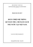 Luận án  tiến sĩ kinh tế: Hoàn thiện hệ thống kế toán thu, chi ngân sách nhà nước tại Việt Nam