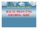 Bài giảng Phản ứng oxi hóa - khử - Hóa 8 - GV.N Nam